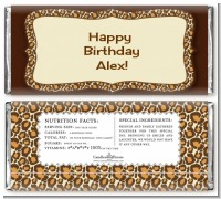 Leopard Brown - Personalized Birthday Party Candy Bar Wrappers
