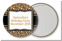 Leopard & Zebra Print - Personalized Birthday Party Pocket Mirror Favors
