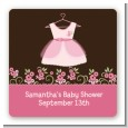 Little Girl Outfit - Square Personalized Baby Shower Sticker Labels thumbnail