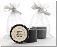 Library Card - Baby Shower Black Candle Tin Favors