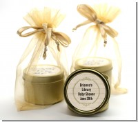 Library Card - Baby Shower Gold Tin Candle Favors