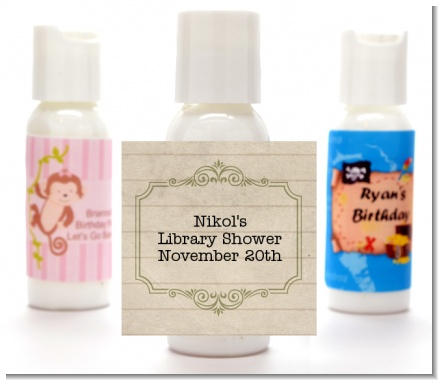 Library Card - Personalized Baby Shower Lotion Favors