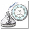 Light Blue & Grey - Hershey Kiss Bridal Shower Sticker Labels thumbnail