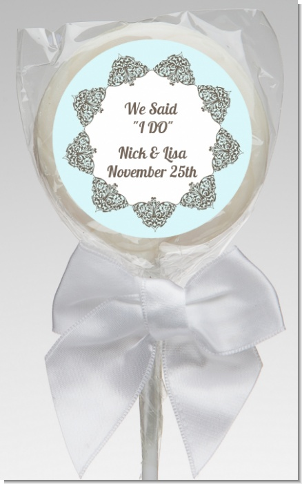 Light Blue & Grey - Personalized Bridal Shower Lollipop Favors