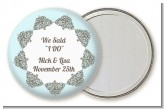 Light Blue & Grey - Personalized Bridal Shower Pocket Mirror Favors