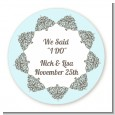 Light Blue & Grey - Round Personalized Bridal Shower Sticker Labels thumbnail