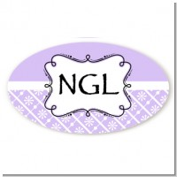Modern Thatch Lilac - Personalized Everyday Party Oval Sticker/Labels
