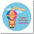 Lion - Round Personalized Birthday Party Sticker Labels thumbnail