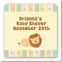 Lion - Square Personalized Baby Shower Sticker Labels
