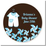 Little Boy Outfit - Round Personalized Baby Shower Sticker Labels