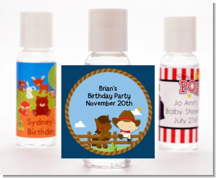 Little Cowboy - Personalized Birthday Party Hand Sanitizers Favors
