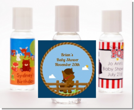 Little Cowboy Horse - Personalized Birthday Party Hand Sanitizers Favors