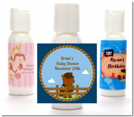 Little Cowboy Horse - Personalized Birthday Party Lotion Favors