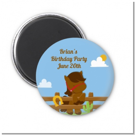 Little Cowboy Horse - Personalized Birthday Party Magnet Favors