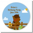 Little Cowboy Horse - Round Personalized Birthday Party Sticker Labels thumbnail