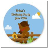 Little Cowboy Horse - Round Personalized Birthday Party Sticker Labels
