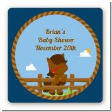 Little Cowboy Horse - Square Personalized Birthday Party Sticker Labels