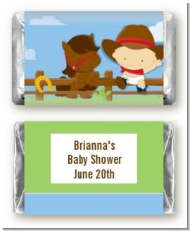 Little Cowboy - Personalized Baby Shower Mini Candy Bar Wrappers