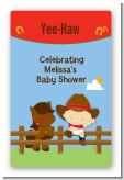 Little Cowboy - Custom Large Rectangle Baby Shower Sticker/Labels