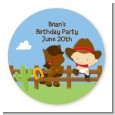 Little Cowboy - Round Personalized Birthday Party Sticker Labels thumbnail