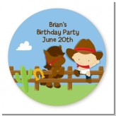 Little Cowboy - Round Personalized Birthday Party Sticker Labels