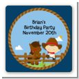Little Cowboy - Square Personalized Birthday Party Sticker Labels thumbnail
