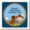 Little Cowboy - Square Personalized Baby Shower Sticker Labels thumbnail