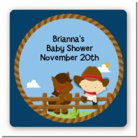Little Cowboy - Square Personalized Baby Shower Sticker Labels