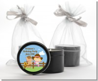 Little Cowgirl - Baby Shower Black Candle Tin Favors