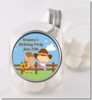 Little Cowgirl - Personalized Birthday Party Candy Jar