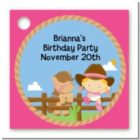Little Cowgirl - Personalized Birthday Party Card Stock Favor Tags