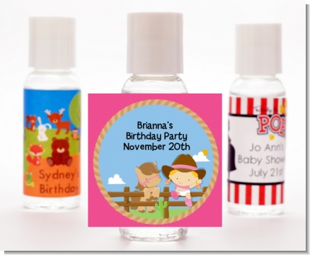 Little Cowgirl - Personalized Birthday Party Hand Sanitizers Favors