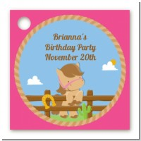 Little Cowgirl Horse - Personalized Birthday Party Card Stock Favor Tags