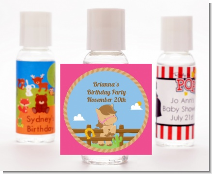 Little Cowgirl Horse - Personalized Birthday Party Hand Sanitizers Favors