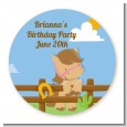Little Cowgirl Horse - Round Personalized Birthday Party Sticker Labels thumbnail