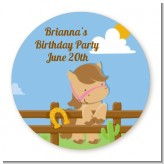 Little Cowgirl Horse - Round Personalized Birthday Party Sticker Labels