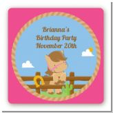 Little Cowgirl Horse - Square Personalized Birthday Party Sticker Labels