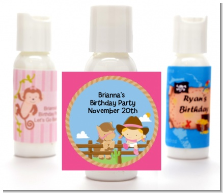 Little Cowgirl - Personalized Birthday Party Lotion Favors