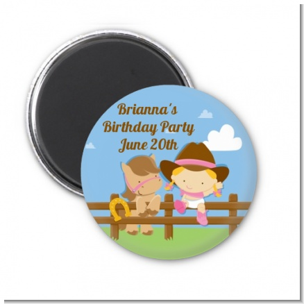 Little Cowgirl - Personalized Birthday Party Magnet Favors