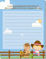 Little Cowgirl - Baby Shower Notes of Advice