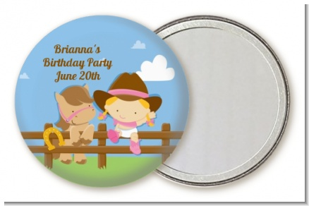 Little Cowgirl - Personalized Birthday Party Pocket Mirror Favors