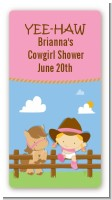 Little Cowgirl - Custom Rectangle Baby Shower Sticker/Labels