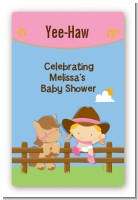 Little Cowgirl - Custom Large Rectangle Baby Shower Sticker/Labels