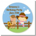 Little Cowgirl - Round Personalized Birthday Party Sticker Labels thumbnail