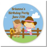Little Cowgirl - Round Personalized Birthday Party Sticker Labels