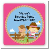 Little Cowgirl - Square Personalized Birthday Party Sticker Labels