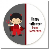 Little Devil - Round Personalized Halloween Sticker Labels