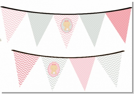 It's A Girl Chevron - Baby Shower Themed Pennant Set