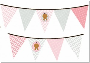 It's A Girl Chevron African American - Baby Shower Themed Pennant Set