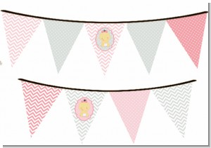 It's A Girl Chevron Asian - Baby Shower Themed Pennant Set